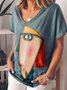 V Neck Cotton-Blend Cartoon Casual Shirts & Tops
