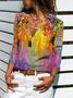 Long Sleeve Cotton-Blend Floral Shift Shirts & Tops