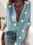 Long Sleeve Shift Floral Shirt Collar Shirts & Tops