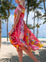Women red Spring boho maxi Shift Half short Sleeve Floral Dress