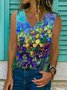 Floral-Print Casual Sleeveless Shirts & Tops