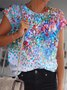 Short Sleeve Floral-Print Crew Neck Casual Shirts & Tops