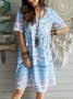 New Women Fashion Short Sleeve Boho Floral Cotton-Blend Dresses