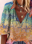 Plus size Hippie Printed Long Sleeve Shirts & Tops