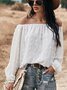 Long Sleeve Solid Holiday Off Shoulder Top