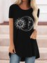 Vintage Moon And Sun Printed Plus Size Short Sleeves Crew Neck Casual Tops