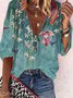 Floral  Half Sleeve  Printed  Polyester  V neck  Casual  Summer  Blue Top