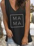 Letter Sleeveless V Neck Casual Shirts & Tops