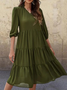 Vintage Plain Plus Size Half Sleeve V Neck Casual Dresses
