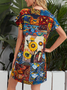 Geometric Floral Short Sleeve Scoop Neckline Casual Dresses