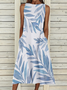 Casual Leaves Sleeveless Dresses