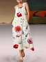 Flower Print Pocket Sleeveless Round Neck Long Dress