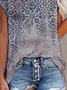 Paisley  Short Sleeve Printed  Cotton-blend  Crew Neck Vintage  Summer  Gray Top