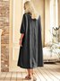 New Women Chic Plus Size Vintage Boho Hippie Holiday 3/4 Sleeve Plain Shift Casual Dresses