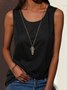 Summer Plain Cotton-Blend Solid Crew Neck Sleeveless Plus Size Tank