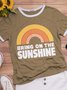 Vintage Rainbow Letter Printed Plus Size Short Sleeve Casual Tops