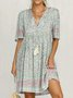 Women Fashion Plus Size Casual Light Blue Half Sleeve Cotton-Blend Holiday Dresses