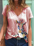 Women Fashion Casual Plus Size Animal Printed V neck Tee Shirts Tops