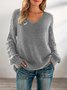 Gray Long Sleeve Knitted Shift V Neck Sweater