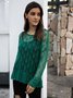 Green Crew Neck Cotton-Blend Long Sleeve Sweater