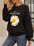 Black Floral Paneled Long Sleeve Casual Sweater