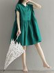 Green Buttoned Shirt Collar Solid Casual Dress