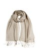 Khaki Fringed Simple Solid Scarf