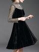 Shiner Tulle Long Sleeve Sweet Brace Skirt Velvet Women's Two Piece