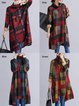 Turtleneck  High Low Women Daytime Long Sleeve Casual Checkered/Plaid Casual Dress