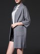 Light Gray Knitted Knitted Solid Simple Coat