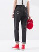 Black Solid Pockets Street Denim Jeans
