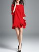 Favoriate Things Red Frill Sleeve Solid Casual Dress