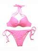 Pink Nylon Plain Bikini