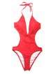 Red Solid Halter Fringes Nylon One-piece