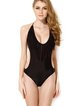 Black Fringes Nylon Halter Solid Padded One-piece