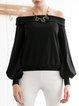 Black Cotton-blend Plain Off Shoulder Balloon Sleeve Cold Shoulder (Off Shoulder) Top