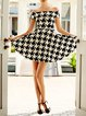 White Off Shoulder Elegant Houndstooth Dress