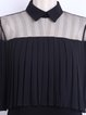 Black Pleated Shirt Collar Solid Statement Crop Top