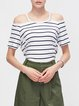 White Stripes Short Sleeve Cold Shoulder Top