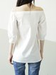 White 3/4 Sleeve Cotton Cold Shoulder (Off Shoulder) Top