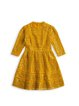 Yellow Floral Girly Stand Collar Lace Dress