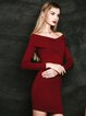 Burgundy Simple Cotton-blend Off Shoulder Club Dress