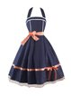 Dark Blue Cotton-blend Tie Back Vintage A-line Party Dress