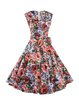 Multicolor Vintage Floral Pattern Cotton-blend Sleeveless A-line Dress