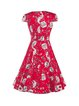 Red Square Neck A-line Vintage Printed Dress