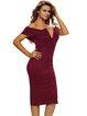 Bodycon Off-shoulder V Neck Solid Dress