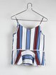 Blue V Neck Ruffled Spaghetti Stripes Cami Top