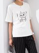 White Short Sleeve Cute Animal Print Cotton T-Shirt