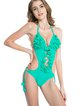 Green Solid Applique Halter One-piece