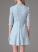 Blue Crew Neck Crocheted Floral Half Sleeve Dress